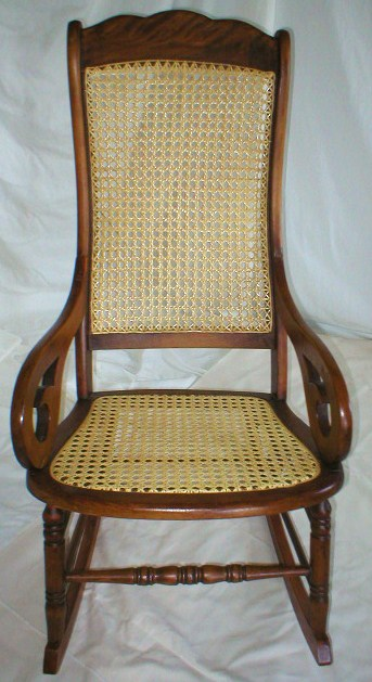Antique Lincoln Rocker - Strand Cane Back - Pressed Cane Seat - After